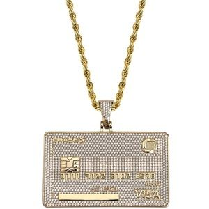 18K Plated Custom Credit Card Pendant Necklace